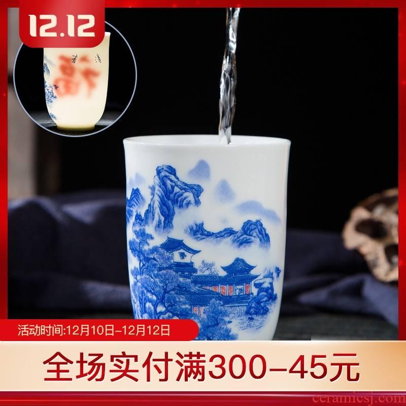Folk artists pastel blue and white porcelain double insulation handshake personal single CPU jingdezhen ceramic large tea cups
