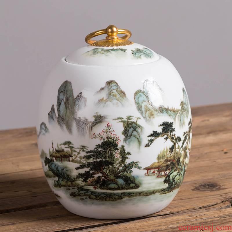 Jingdezhen ceramic tea pot size caddy fixings pu - erh tea cake tea box store receives household seal and POTS