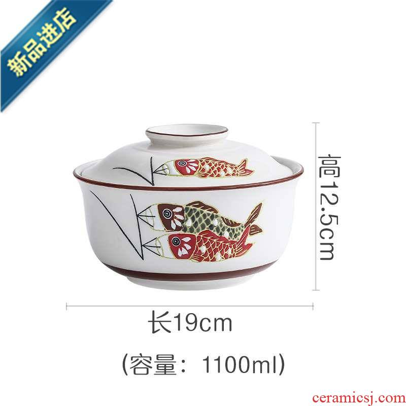 18 household Porcelain fantastic with cover enamel jar with cover steaming bowl with cover high temperature resistant soup container with cover enamel