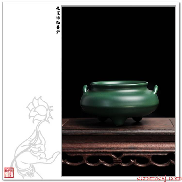Offered home - cooked at flavour malachite green glaze flower capsule censer aroma of jingdezhen ceramic incense buner aroma stove by hand