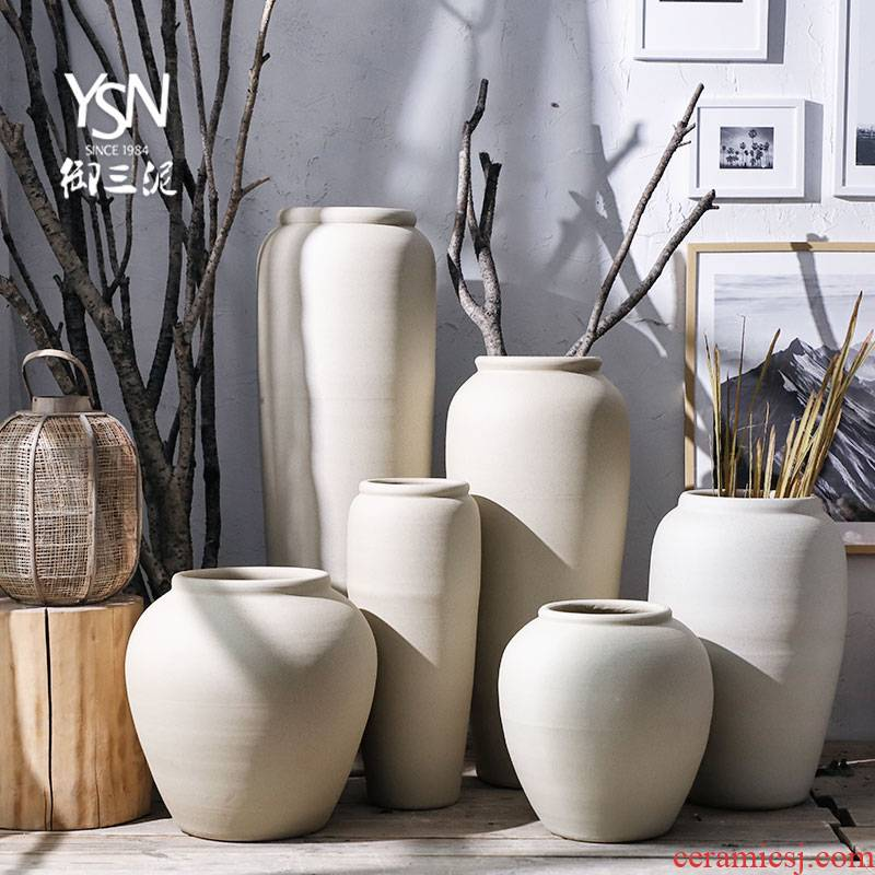 Royal three Nordic mud ground courtyard flower bed dry flower vase creative ceramics contracted and I earthenware coarse pottery flowerpot