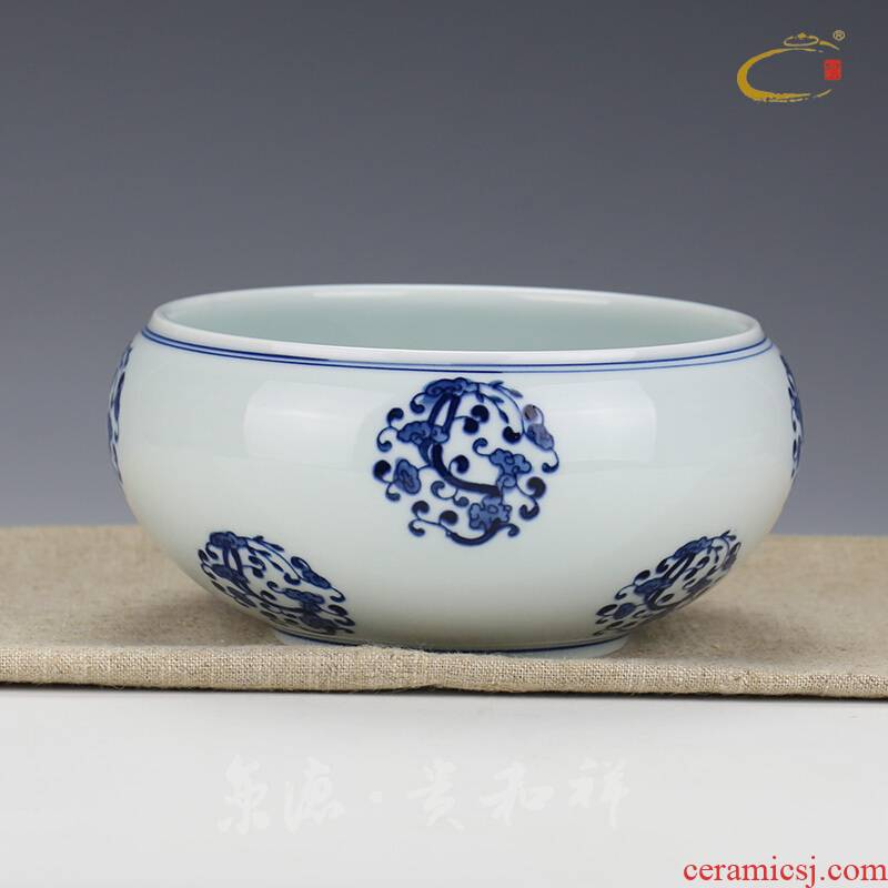 Beijing auspicious jingdezhen ceramics by hand with DE and kung fu tea tea accessories, both inside and outside color glossy ganoderma tea to wash water