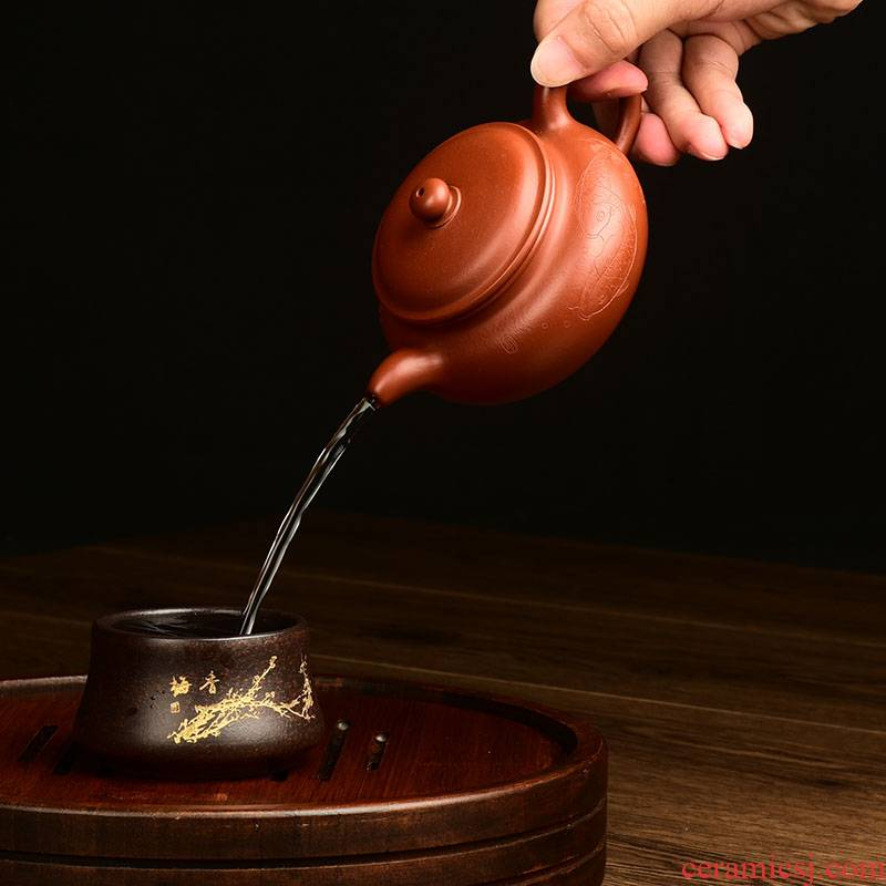 Shadow at yixing it undressed ore dahongpao zhu mud hand made kung fu tea set antique teapot 350 cys