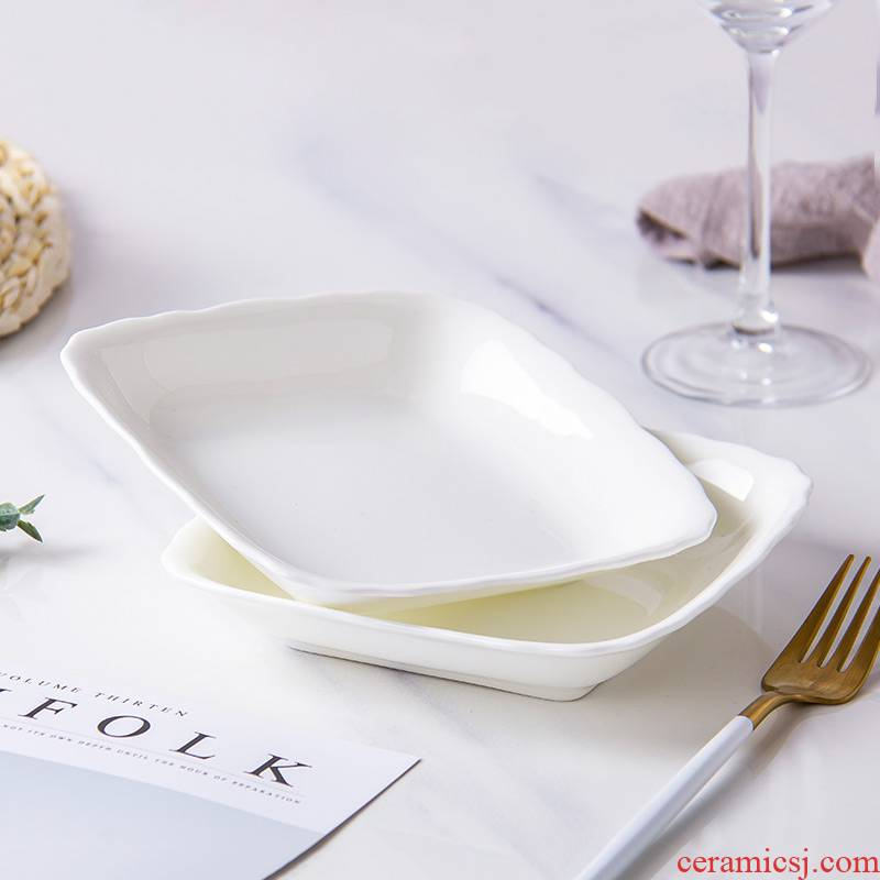 Son pure white ipads porcelain dish dish square web celebrity creative household ceramic plate fruit bowl dish Chinese dishes