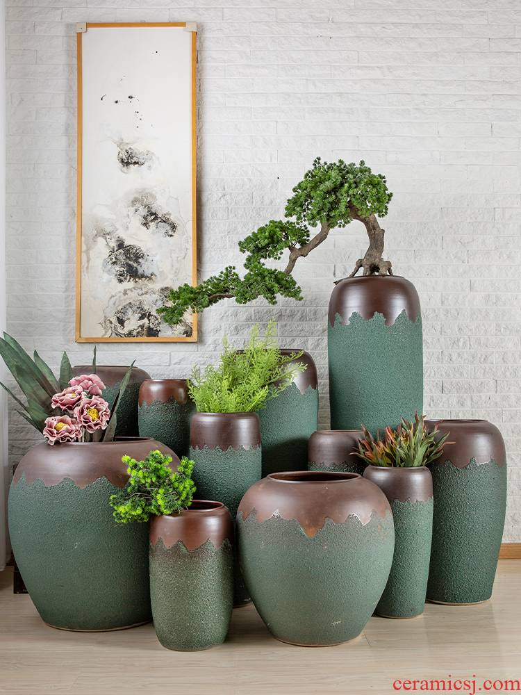 Do old jingdezhen restoring ancient ways small and pure and fresh clay pottery dried flower vase sitting room home decoration to the hotel flower arranging furnishing articles