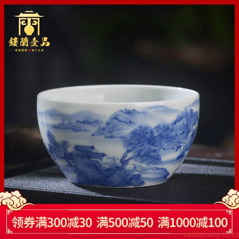 Jingdezhen ceramic hand - made maintain all blue and white landscape master cup tea cup kung fu tea set single cup sample tea cup