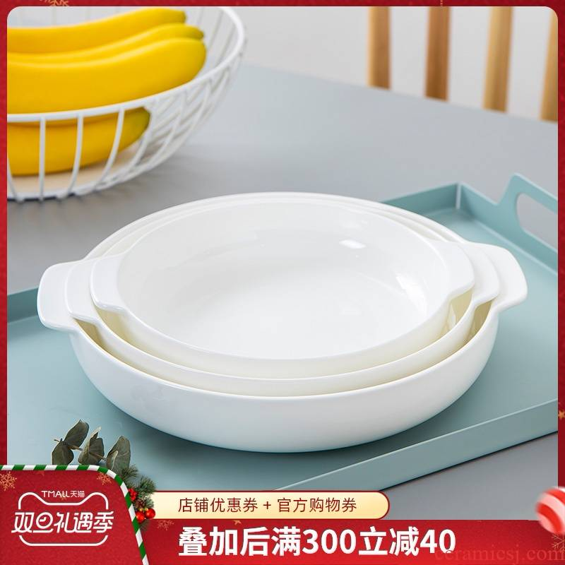 Jingdezhen porcelain ipads deep litter disc household ceramic white plate round creative ears against the hot dish soup plate deep 0