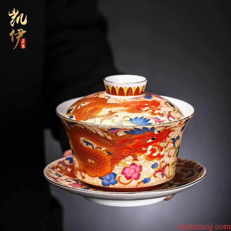 Enamel Mosaic gold dragon golden phoenix only three tureen jingdezhen ceramic cup bowl to bowl kung fu tea bowl
