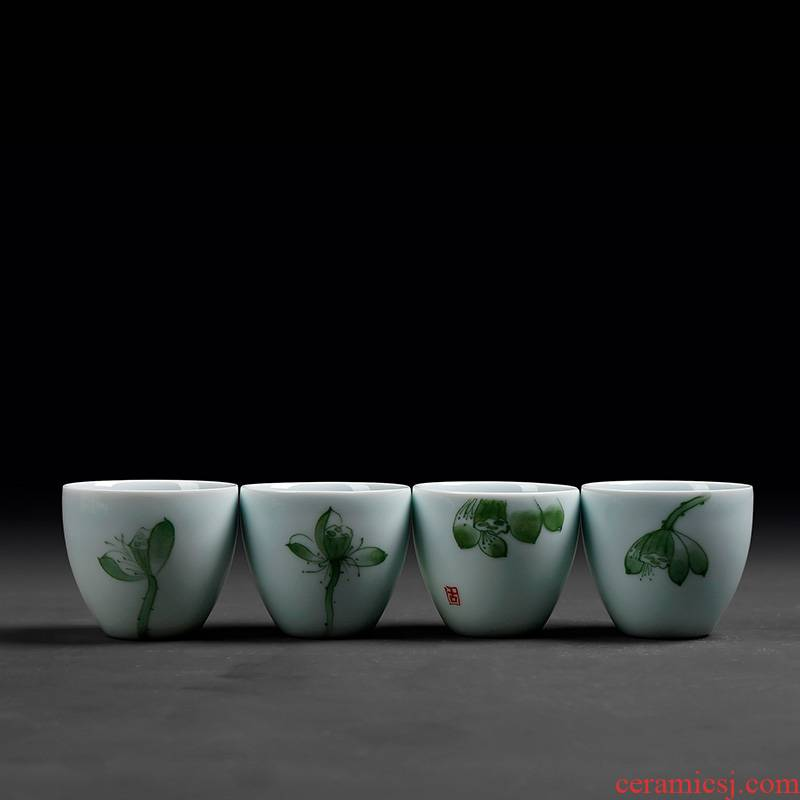 Longquan celadon noggin single master cup single CPU kung fu tea tea ceramic tea cup lamp that individual move