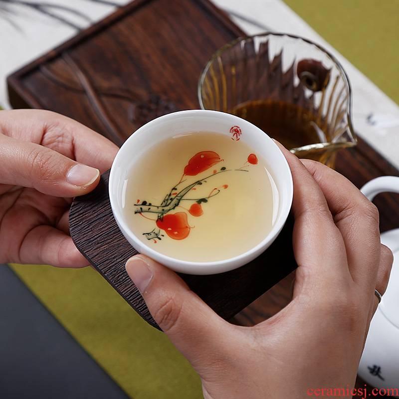 Jingdezhen hand - made noggin master cup single CPU kung fu tea tea tea glass ceramics single, single people
