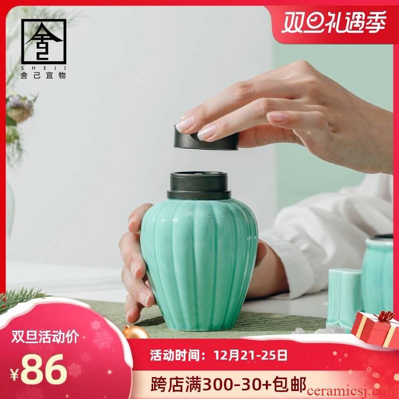 "The Self - ""appropriate content iris green tea pot seal pot small POTS jar of jingdezhen ceramic tea storage tanks"