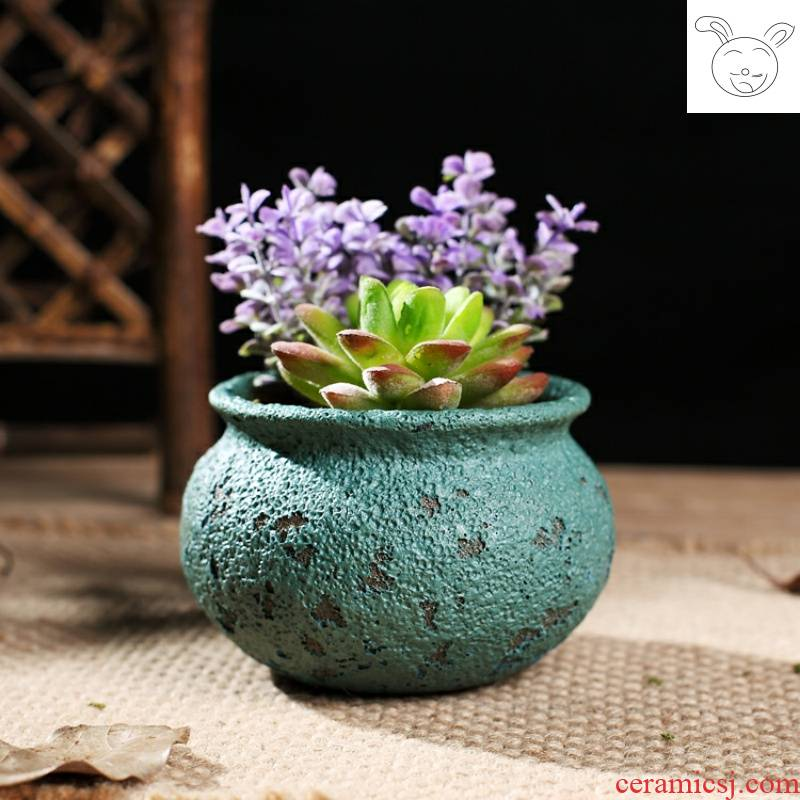 Meaty plant POTS of jingdezhen ceramic flowerpot more meat retro mercifully glaze green plant high temperature up control root basin