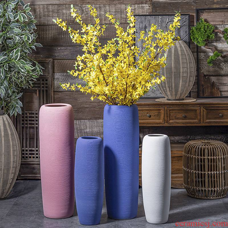 Morandi jingdezhen ceramic vase landing large Nordic dried flower arranging flowers decorative furnishing articles I and contracted sitting room