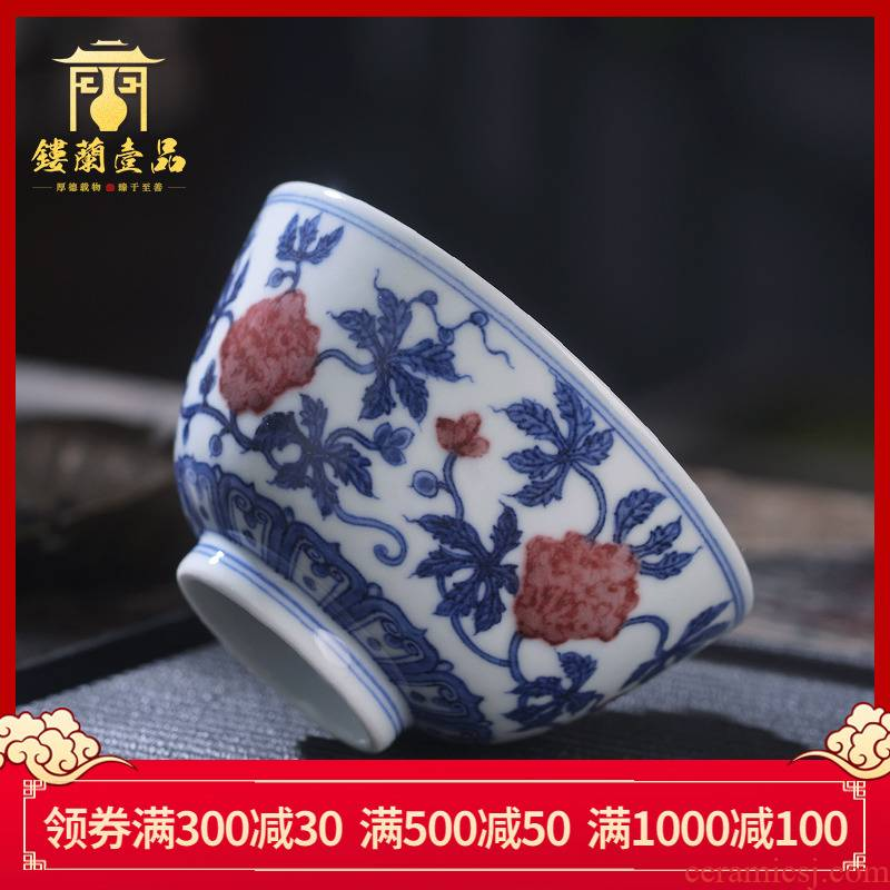 Jingdezhen ceramic hand - made maintain all blue youligong landscape master cup kung fu tea set single cups of tea cups