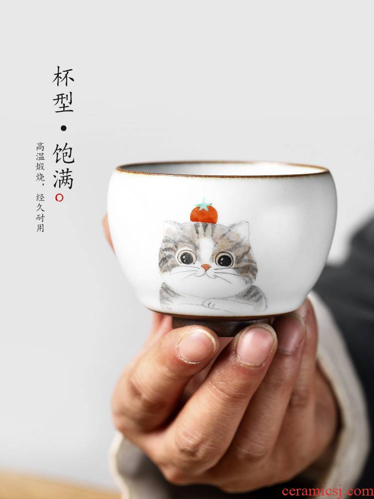Jingdezhen hand - made kung fu masters cup checking ceramic cups sample tea cup cat single cup your up high - end tea sets