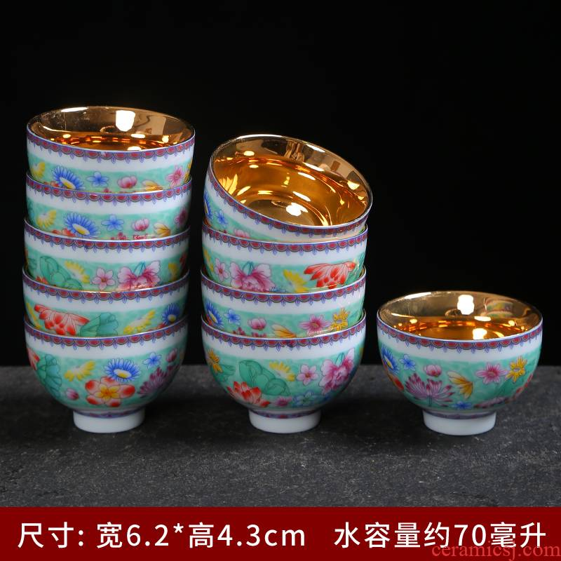Jingdezhen archaize steak flower tea cup sample tea cup ceramic hat, kung fu tea cups household paint master single CPU