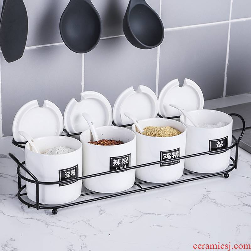 Seasoning box of a multiple household condiment jar ceramic seasonings pepper pot pot Seasoning salt box of four