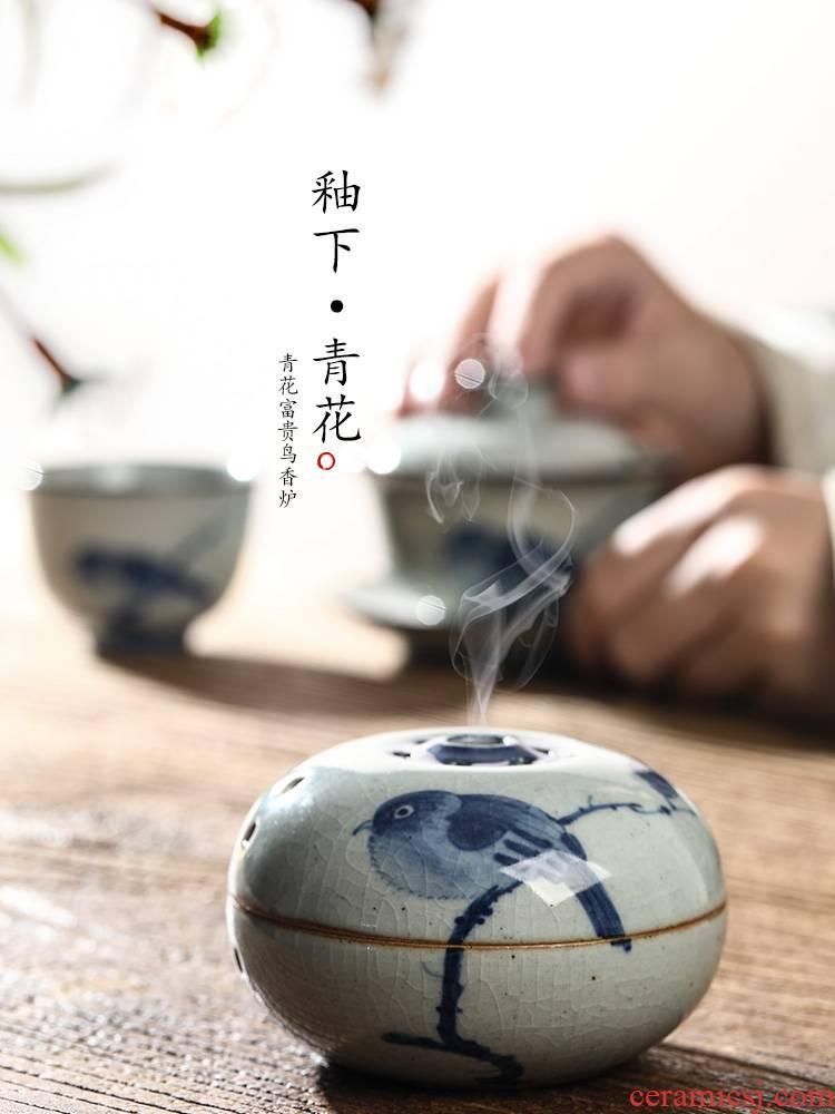 Ken shun ke jingdezhen blue and white hand riches and honour bird censer checking Chinese ceramic sandalwood incense inserted zen smoked furnace