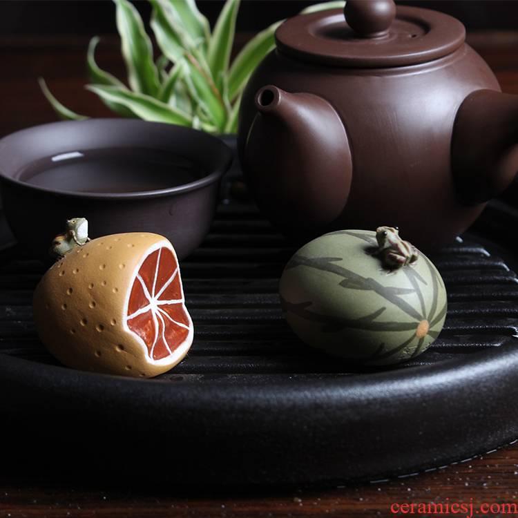Ya xin company hall yixing it move play creative hand - made tea to tea pet furnishing articles watermelon water frog