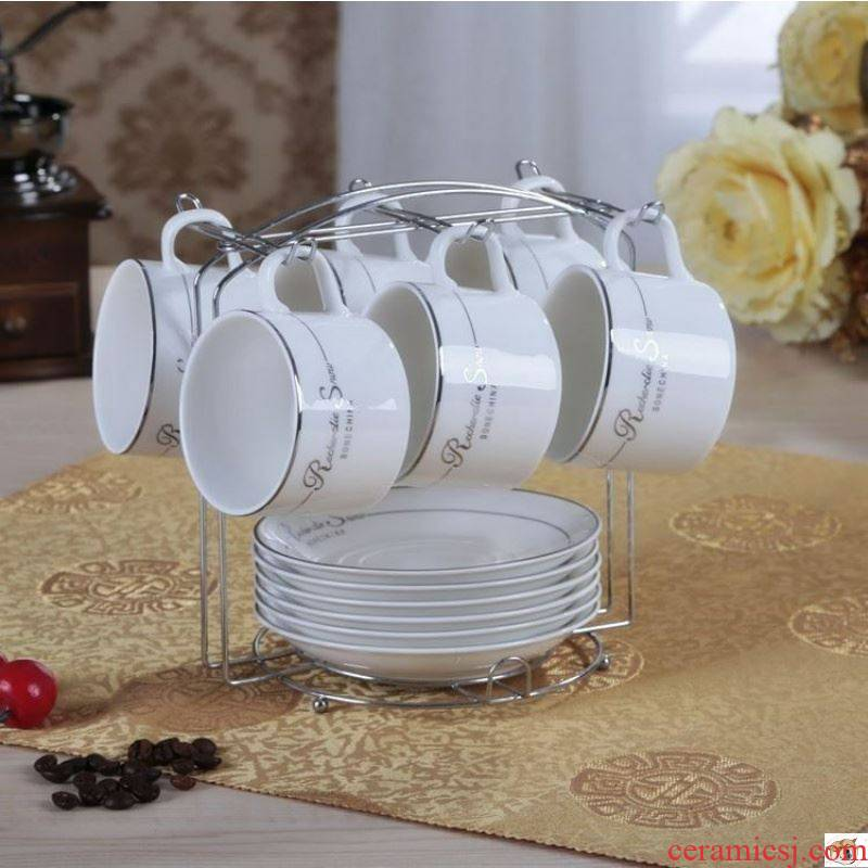 Pure white ceramic coffee cup kit contracted household small cups and saucers spoon set with a European style ltd. hotel creative cup.