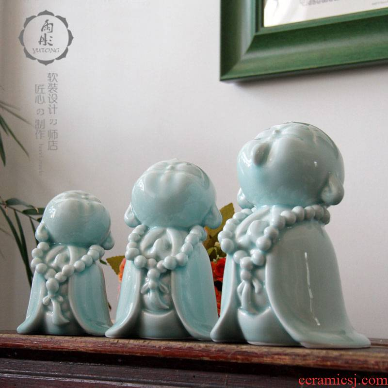 Oolong temple monks creative gift qinggong crafts furnishings jingdezhen ceramics by hand furnishing articles we knew