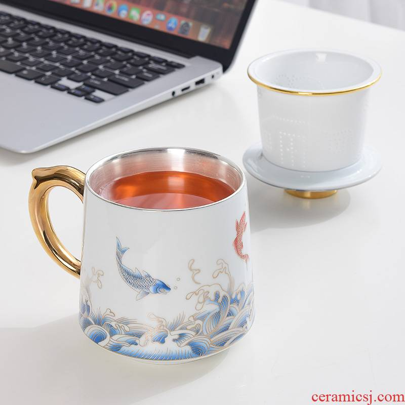 Koi ceramic cup China wind tea filter cup silver cup 999 sterling silver bladder office ipads China cups