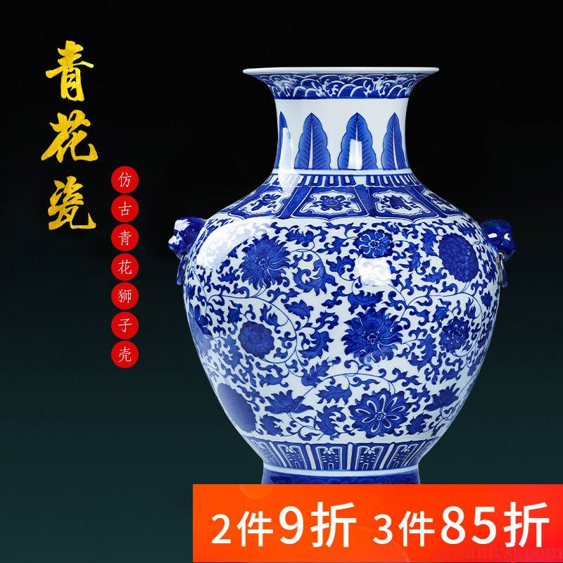 Jingdezhen porcelain ceramic antique large blue and white porcelain vase living room TV cabinet decoration of Chinese style household furnishing articles