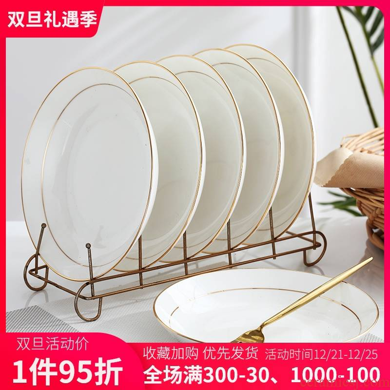 Eight 7/8 inch ceramic plate plate suit family dish dish plate combination Jin Bianshen 10 simple ideas