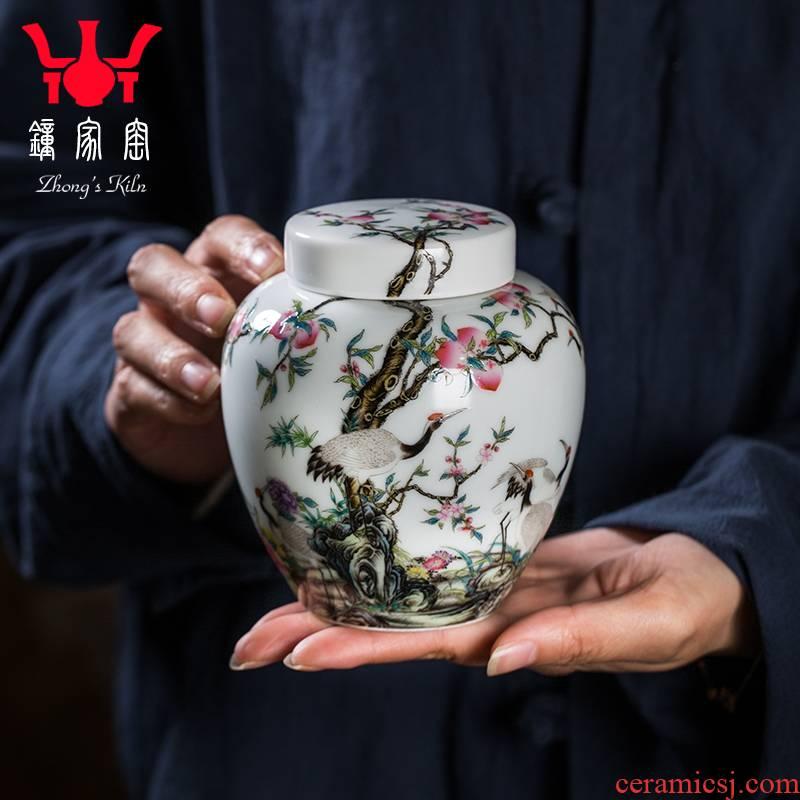 Clock at jingdezhen up caddy fixings colored enamel cranes peach ceramic tea pot upscale boutique household size