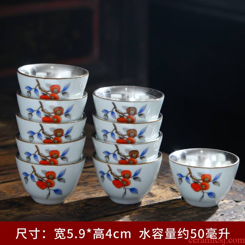 Ceramic colored enamel coppering. As silver cup master cup of large single cup tea sample tea cup kung fu tea set gift customization