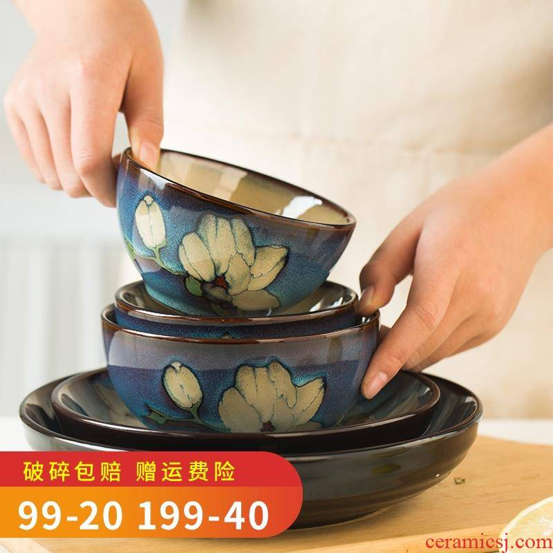 Ceramic bowl household Japanese restore ancient ways of creative move web celebrity express bowl bowl dish dish plate microwave tableware