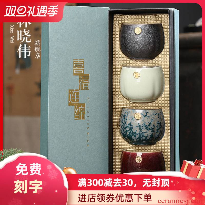 Tasted silver gilding ceramic sample tea cup 999 gift boxes manual paint small kung fu master Chinese style restoring ancient ways is a cup of tea cups light