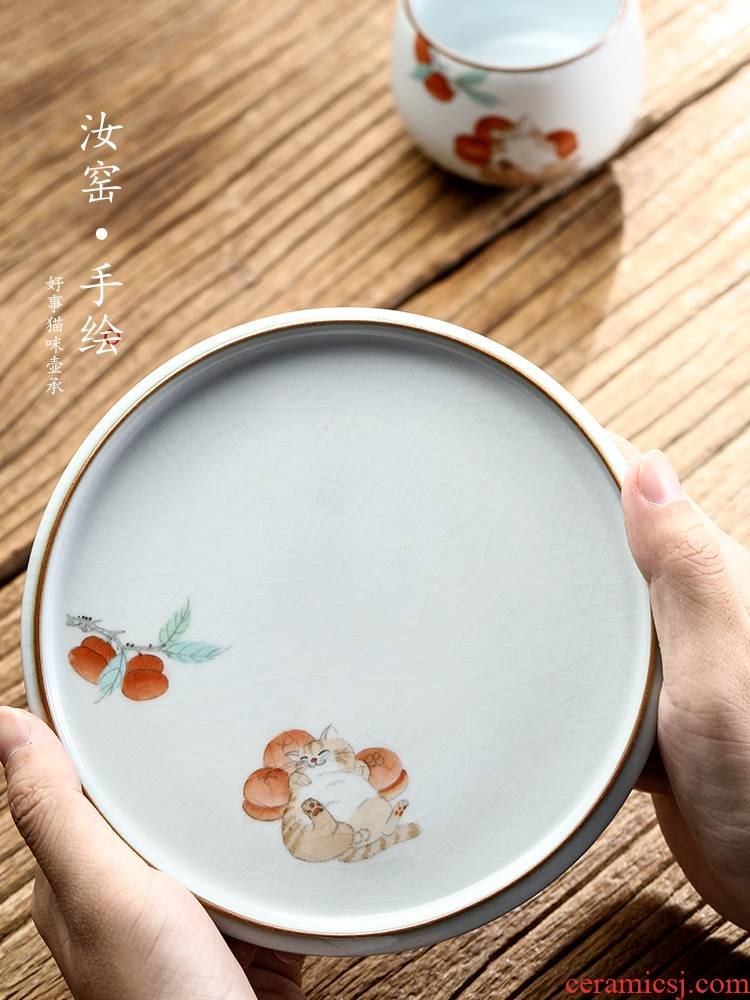 Jingdezhen hand - made pot of bearing dry mercifully machine ceramic bearing cover of a pot of tea set your up kung fu tea tray was contracted tea saucer
