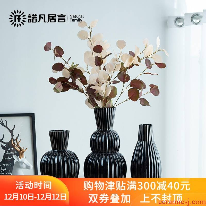 Mesa of ceramic vase European classical flower arranging furnishing articles contracted sitting room creative black geometry, the dried flower decoration