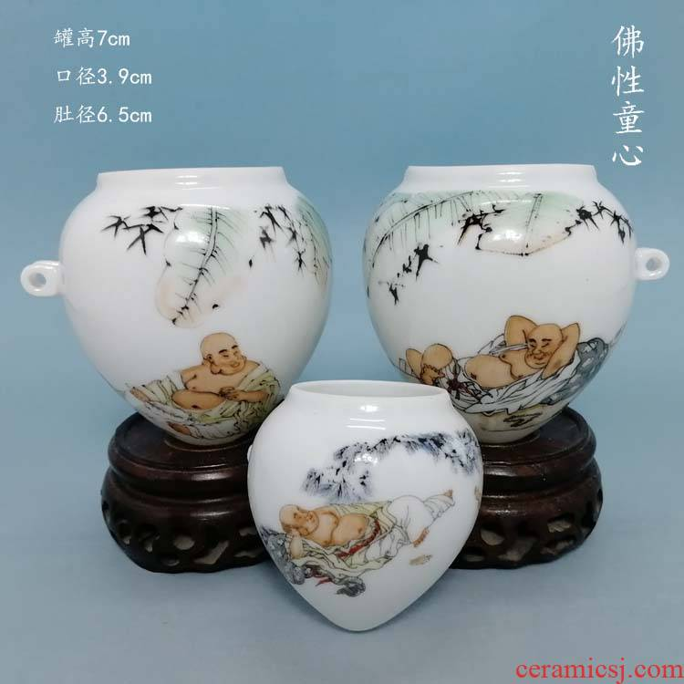Buddha childishness heart blackbird cylinder jingdezhen ceramic bird seed pot cup bird appliance thrush cage accessories
