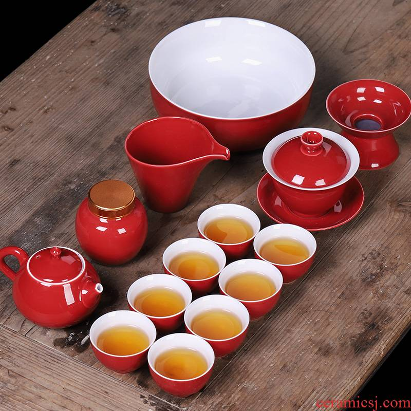 Wedding tea set new Wedding Wedding gift boxes ceramic red kung fu tea pot high - grade household contracted