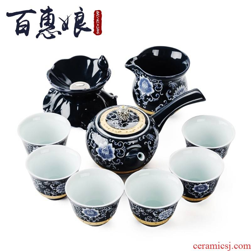 The see home LAN (niang of a complete set of kung fu tea set manually TengHua porcelain cup lid bowl