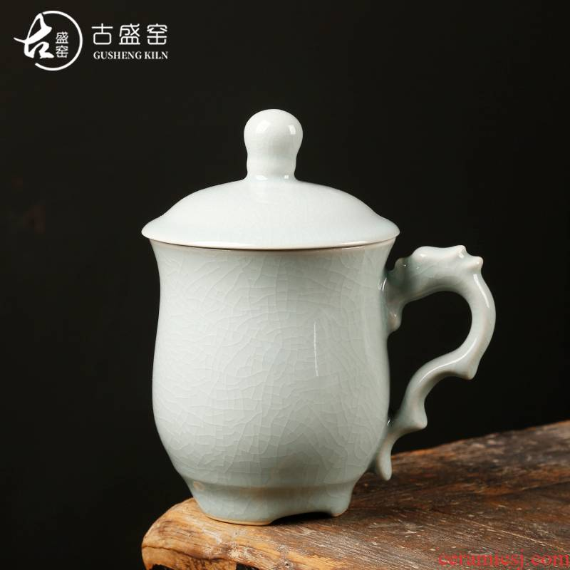 Ancient sheng glass ceramic up your up office home tea cup single cup filter with cover cups craftsmen
