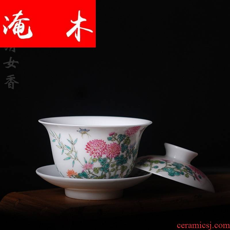 Submerged wood pure hand draw pastel by boutique tureen jingdezhen all hand authentic ceramic porcelain with delicate tea