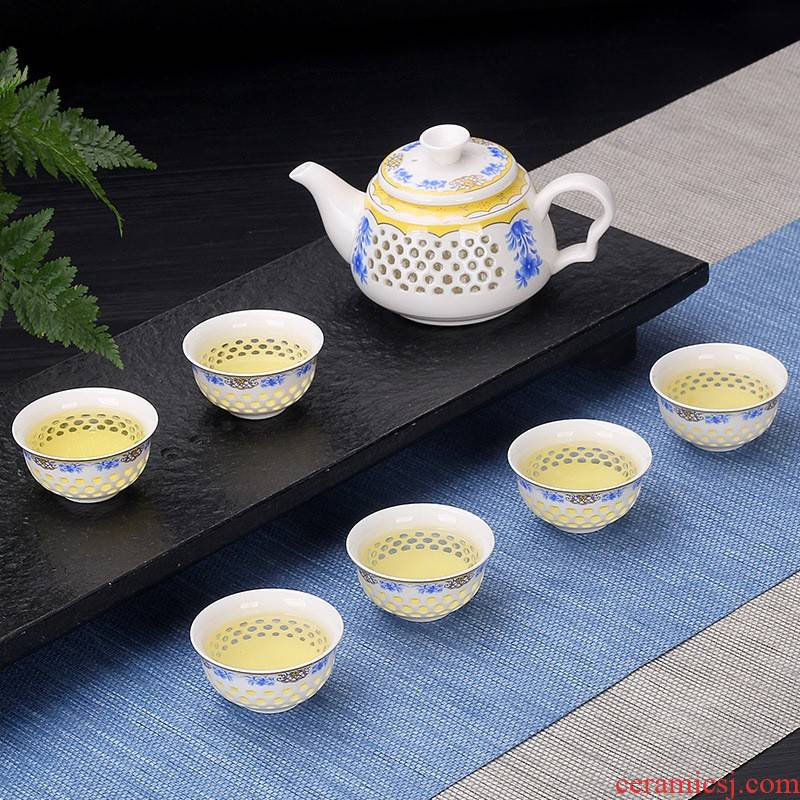Hui shi creative household and exquisite ceramic kung fu tea set tea tray tureen contracted jingdezhen teapot tea cup
