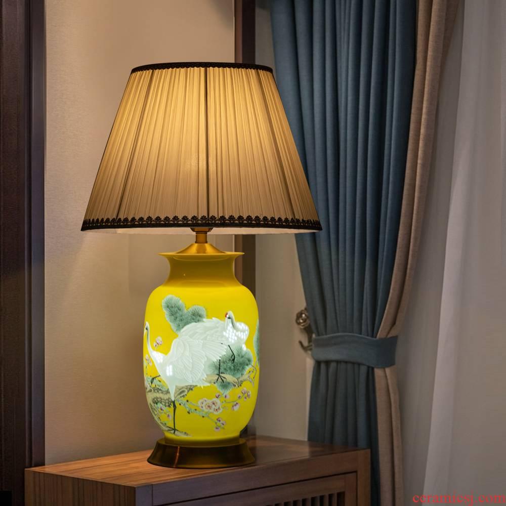 Jingdezhen ceramics furnishing articles pine knife clay crane, prolong lamp vases, new Chinese style adornment bedroom berth lamp