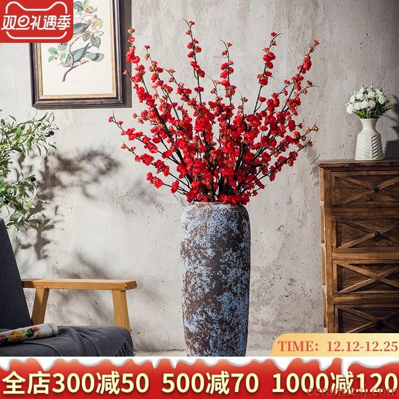 Jingdezhen ground vase Chinese style restoring ancient ways of large ceramic coarse pottery flower arranging furnishing articles suit European simulation flowers