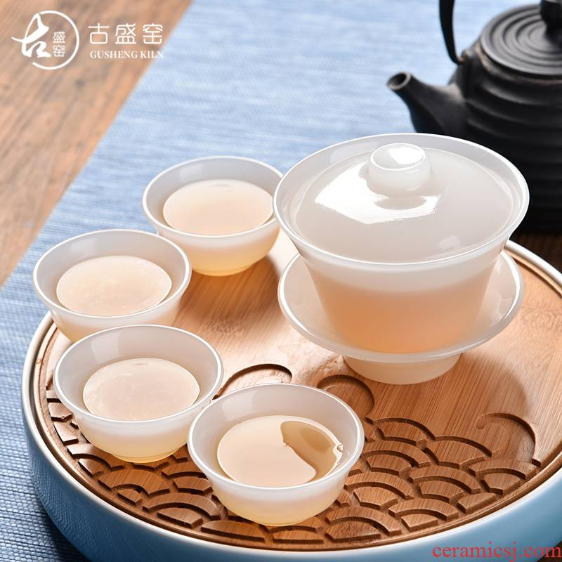 Ancient bowl up new jade white jade porcelain only three travel tureen individual cup white porcelain a pot of four sample tea cup