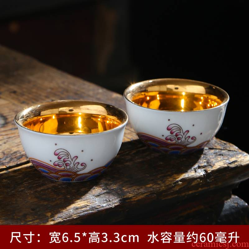 999 sterling silver inner ceramic cups household kung fu tea set jingdezhen blue and white porcelain cup single cup sample tea cup host