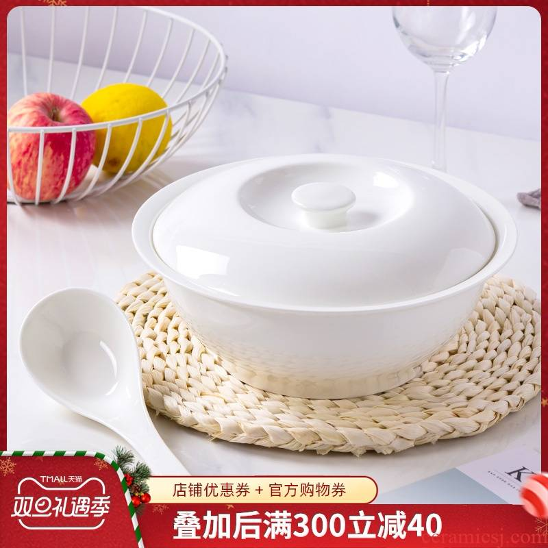 Jingdezhen ceramic with cover large soup bowl Chinese style household goods pot soup pot soup bowl can microwave ceramics tableware