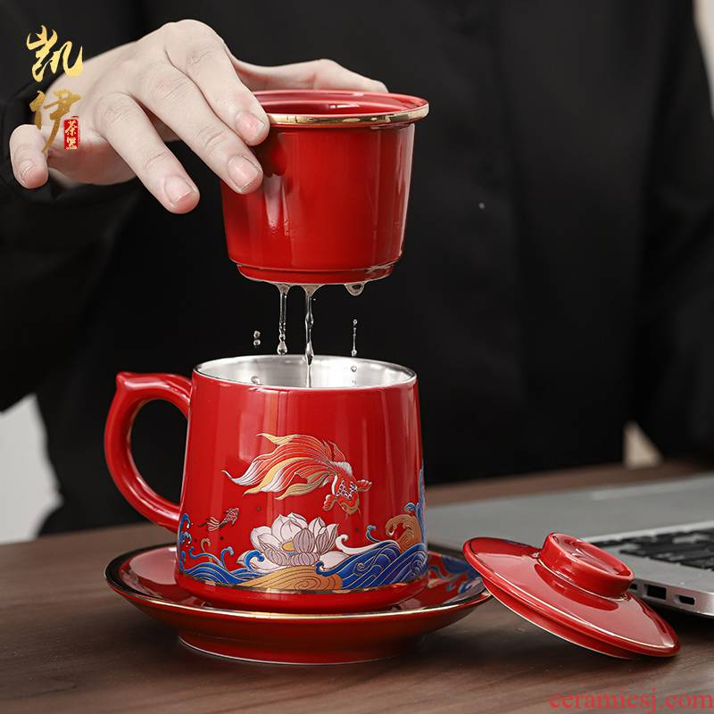 Chinese red brocade carp coppering. As silver 999 office a cup of tea cup of jingdezhen ceramic cup to ultimately responds a cup of tea cups