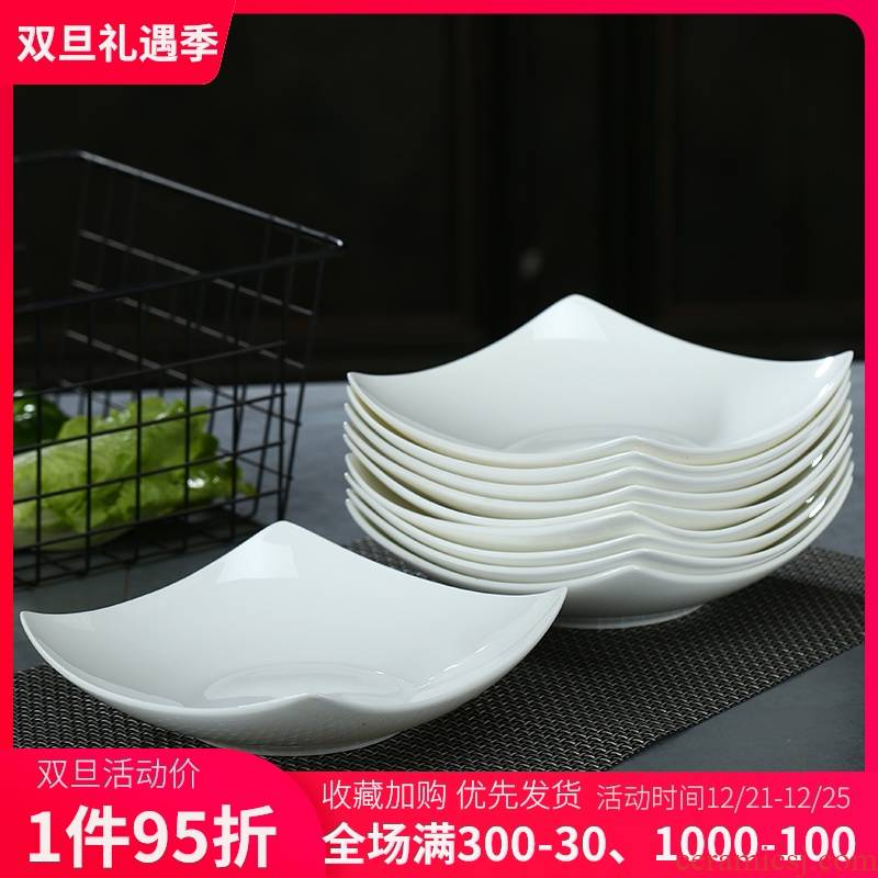 Ipads porcelain dish dish dish suits for pure white ceramic tableware plate creative square plate household deep dish dish soup six