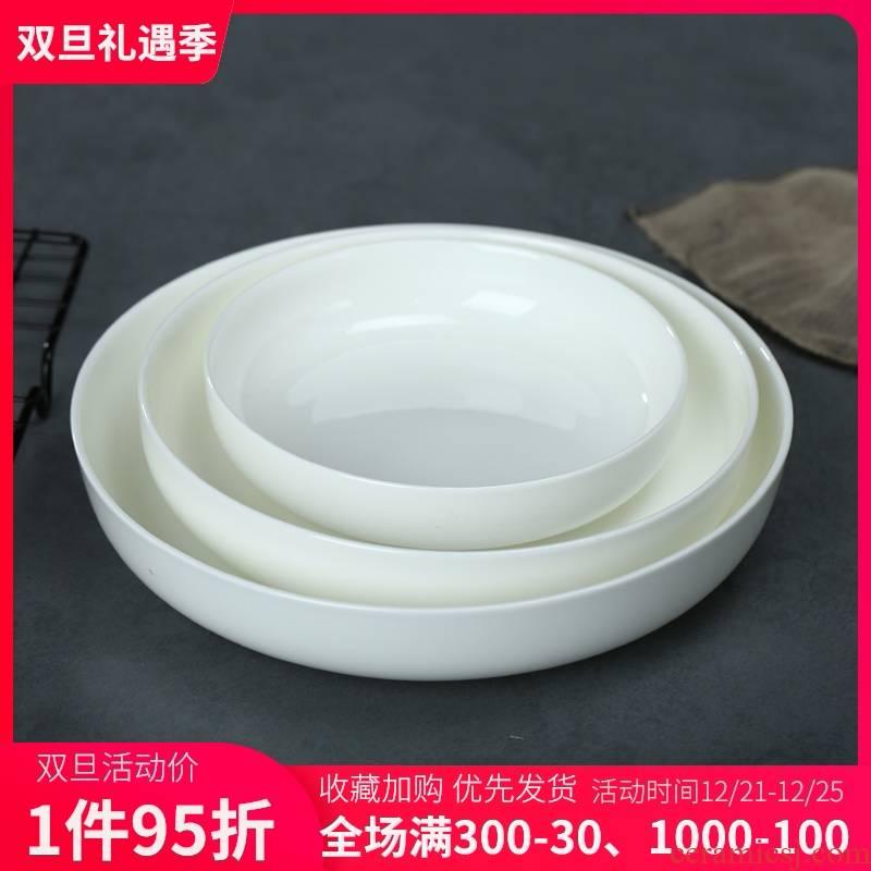 Pure white ipads China plate son of jingdezhen ceramic deep dish dish home soup plate FanPan practical round dish dish dish