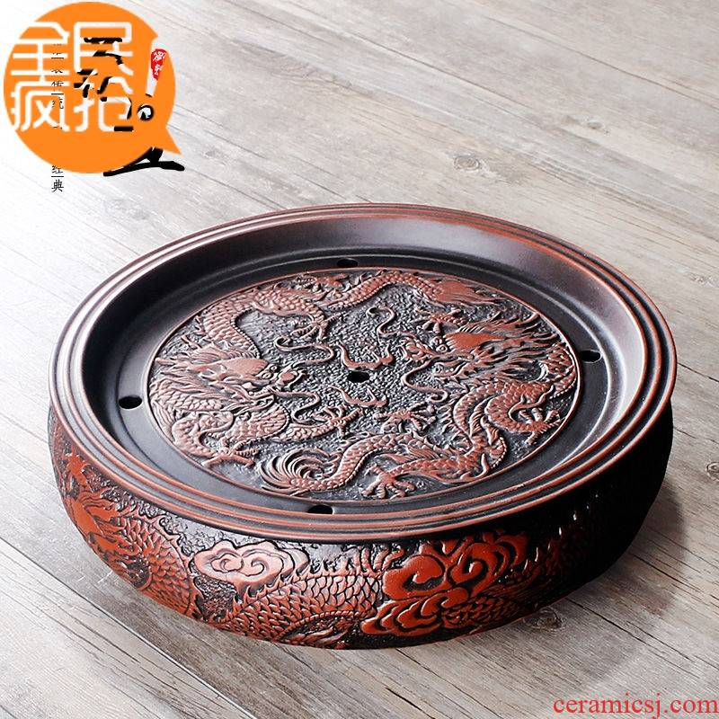 Hui shi storage type violet arenaceous kung fu tea set large tea tray tea sets tea tea tray ship ceramic round dry sea mercifully