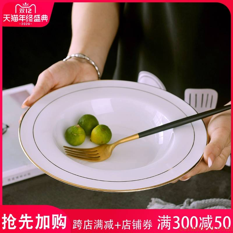 European style up phnom penh 9 inches pasta dish household creative restaurant ipads porcelain soup plate ceramic round 0